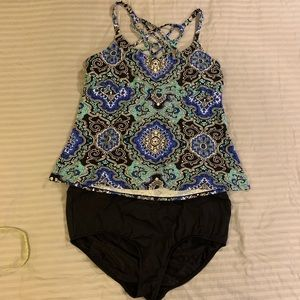 Tankini high waisted bottoms, strappy back top